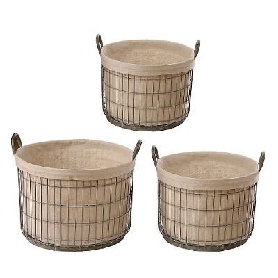 "Metal Baskets with Fabric Liner (S-3 11"")"