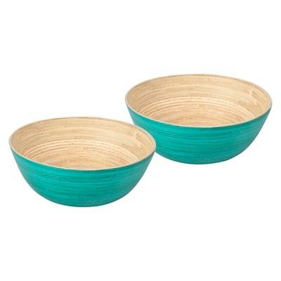 Core Bamboo Modern Round Spun Bamboo Bowls Set of 2- Teal