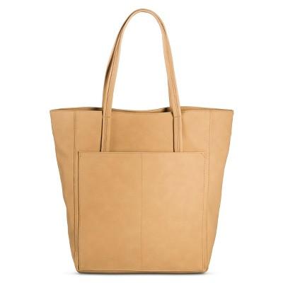 Women's Faux Leather Tote Handbag Tan- Merona™