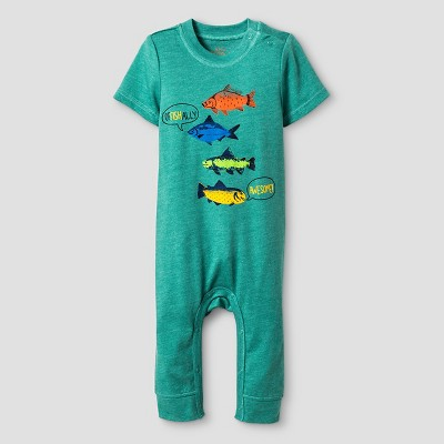 Baby Boys' Short-Sleeve Awesome Romper Baby Cat & Jack™ - Green NB