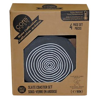 Core Home Round Spool Slate Coasters - Set of 4