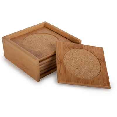 Core Bamboo Classic Square Bamboo Coaster Set - 7pc