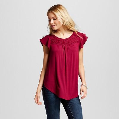Women's Flutter Sleeve Shell Cherry Peony M - Merona™