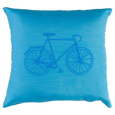 "Decorative Pillow Bike Blue (18""x18"") - Surya"