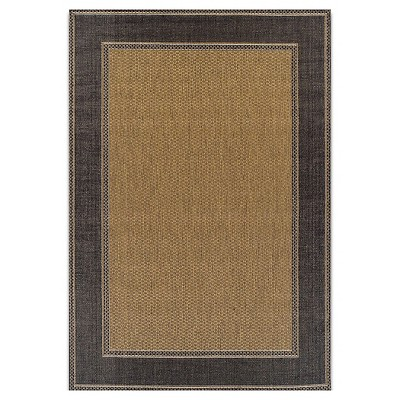 Outdoor Patio Rug with Black Trim 7x10