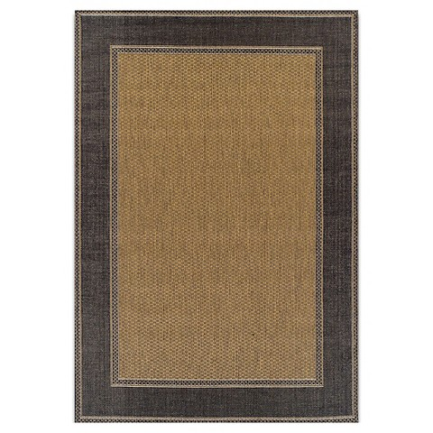 Outdoor Patio Rug with Black Trim 5x7 Tar