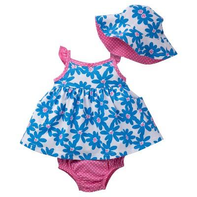Gerber® Baby Girls' Blue Floral Dress Set 6-9M
