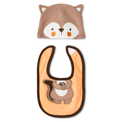 Lovespun Baby 2 Piece Hat & Bib Set - Fox