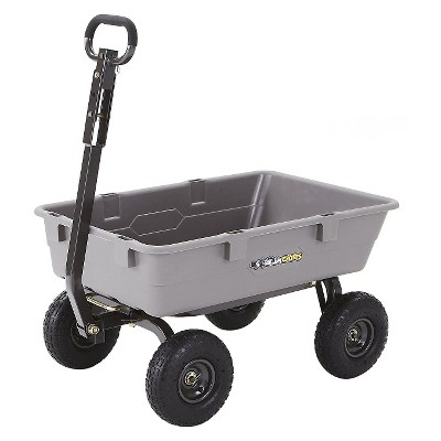 Gorilla Carts Poly Garden Dump Cart with Steel Frame and Pneumatic Tires, 800-Pound Capacity