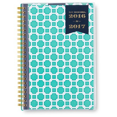 "Day Designer Weekly/Monthly Planner, 2016-2017, 144pgs, 5.5"" x 8.5"" - Aqua Blue"
