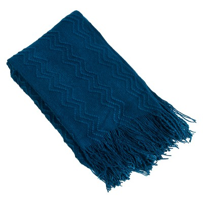 "Knitted Zigzag Design Throw Navy Blue (50""x60"")"