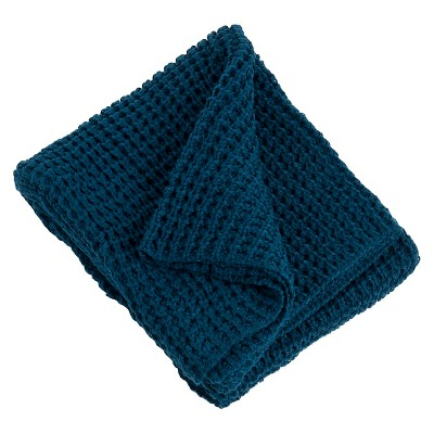 "Knitted Design Throw Navy Blue (50""x60"")"