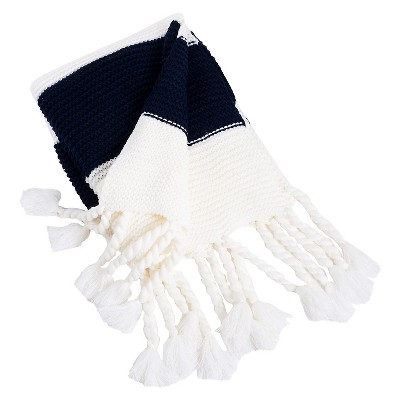 "Knitted Throw with Chunky Tassels Navy Blue (50""x60"")"