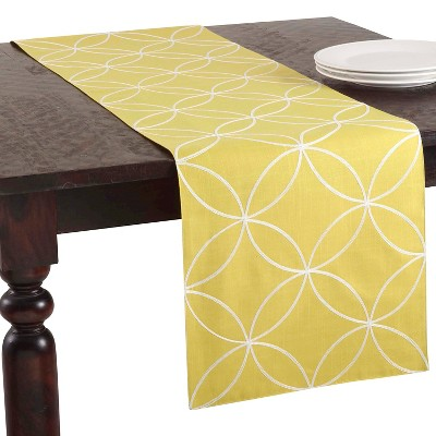 "Stitched Tile Design Runner Chartreuse (16""x70"")"