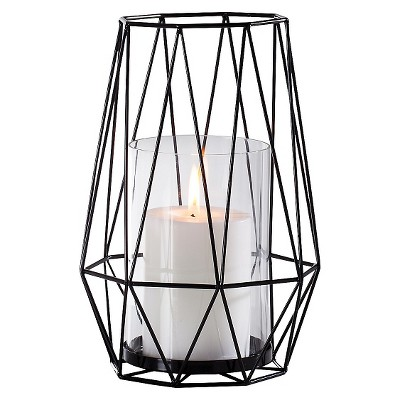 Diamond Deco Metal Hurricane Candle Holder - Black