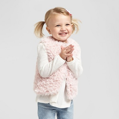 Toddler Girls' Fur Vest Pink 4T-5T - Genuine Kids from Oshkosh™