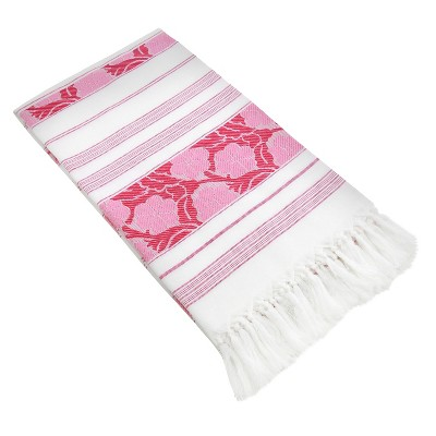 Flowers For All Beach Towel Pink White