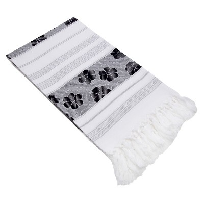 Flowers For All Beach Towel Black White