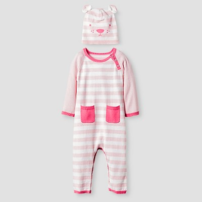 Baby Girls' Organic Sweater Romper and Hat Set Baby Cat & Jack™ - Pink 6-9M