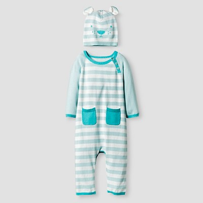 Baby Boys' Organic Sweater Romper and Hat Set Baby Cat & Jack™ - Turquoise 0-3M
