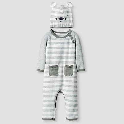 Baby Organic Sweater Romper and Hat Set Baby Cat & Jack™ - Heather Grey 0-3M