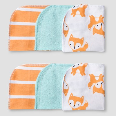 Baby 6 Pack Fox Print Wash Cloth Set Soft Aqua - Cat & Jack Baby™