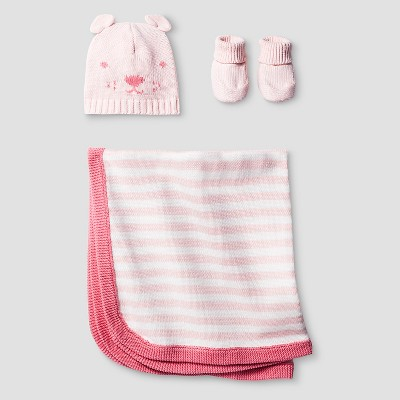 Baby Girls' Organic Hat, Bootie, Blanket Set Baby Cat & Jack™ - Pink