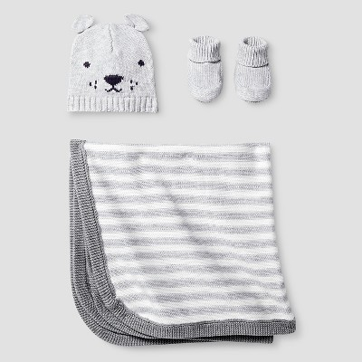 Baby Organic Hat, Bootie, Blanket Set Baby Cat & Jack™ - Light Heather