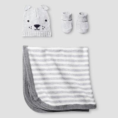 Baby Organic Hat, Bootie, Blanket Set Baby Cat & Jack™ - Light Heather