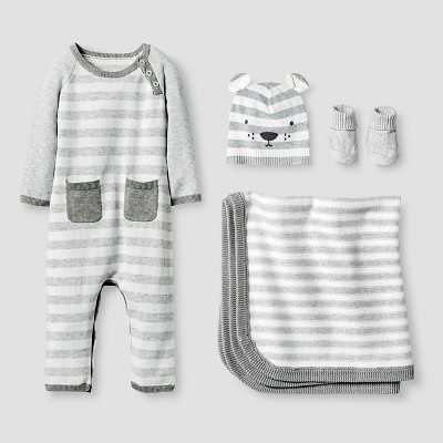 Baby Organic Sweater Romper, Hat, Bootie and Blanket Set Baby Cat & Jack™ - Heather Grey 0-3M