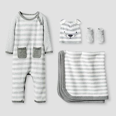 Baby Organic Sweater Romper, Hat, Bootie and Blanket Set Baby Cat & Jack™ - Heather Grey 0-3M