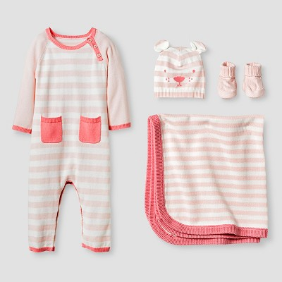 Baby Girls' Organic Sweater Romper, Hat, Bootie and Blanket Set Baby Cat & Jack™ - Pink 0-3M