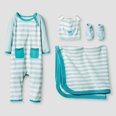 Baby Boys' Organic Sweater Romper, Hat, Bootie and Blanket Set Baby Cat & Jack™ - Turquoise 0-3M