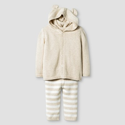Baby Organic Sweater Hoodie with Ears and Pant Set Baby Cat & Jack™ - Oatmeal Heather 0-3M