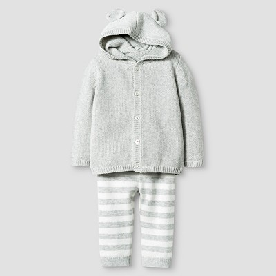 Baby Organic Sweater Hoodie with Ears and Pant Set Baby Cat & Jack™ - Heather Grey NB