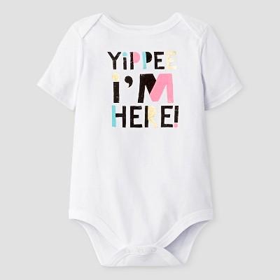 Baby Short-Sleeve Yippie I'm Here Bodysuit Baby Cat & Jack™ - White 6-9M