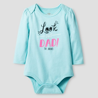 Baby Girls' Long-Sleeve Look Out Bodysuit Baby Cat & Jack™ - Turquoise 12M