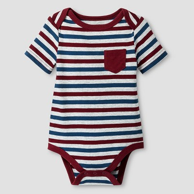 Baby Boys' Short-Sleeve Stripe Bodysuit Baby Cat & Jack™ - Deep Red/Grey 0-3M