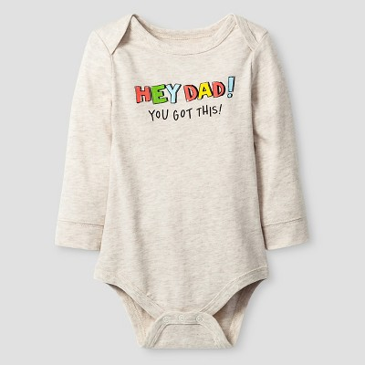 Baby Boys' Long-Sleeve Hey Dad Bodysuit Baby Cat & Jack™ - Oatmeal Heather 0-3M