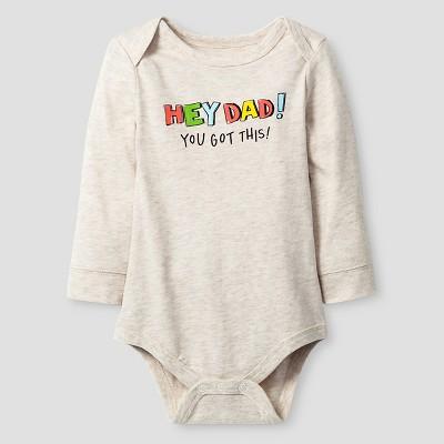 Baby Boys' Long-Sleeve Hey Dad Bodysuit Baby Cat & Jack™ - Oatmeal Heather NB