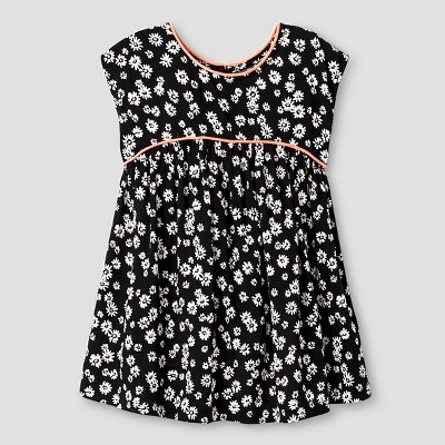 Baby Girls' A Line Floral Piped Dress Black 18M - Cat & Jack™