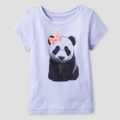 Baby Girls' Panda Short Sleeve Graphic T-Shirt Purple 18M - Cat and Jack™