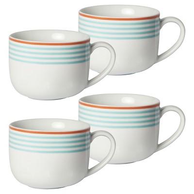 Cheeky® Porter 16oz Porcelain Mug - Light Blue Stripe with Coral Rim - 4-pack