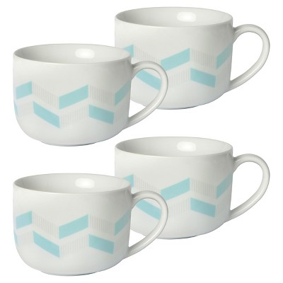 Cheeky® Quinn 16oz Porcelain Mug - Light Blue and Grey Chevron - 4-pack
