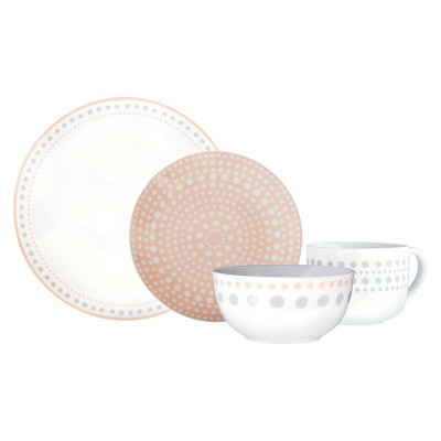 Cheeky® Ojai  Porcelain Dinnerware Set 16-pc. - Grey & Peach