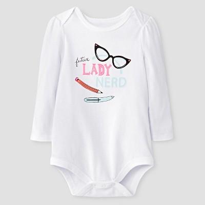 Baby Girls' Future Lady Nerd Long-sleeve Bodysuit Baby Cat & Jack™ - White 12M
