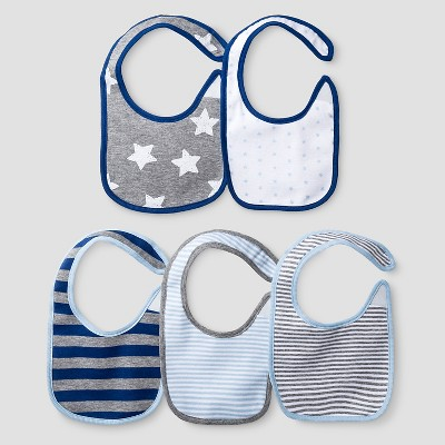 Baby Boys' 5 Pack Star Bib Set Baby Cat & Jack™ - Navy/Heather Grey