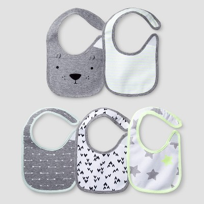 Baby 5 Pack Bib Set Baby Cat & Jack™ - White/Heather Grey