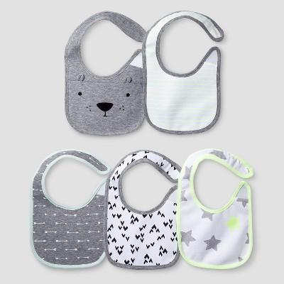 Baby 5 Pack Bib Set Baby Cat & Jack™ - White/Heather Grey