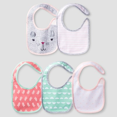 Baby Girls' 5 Pack Bib Set Baby Cat & Jack™ - Coral/Aquamint